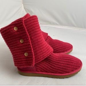Ugg Classic Cardy 3 button hot pink knit boots 9